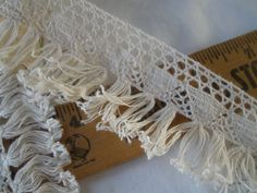 """Ecru Cluny Lace & Tassel Fringe trim 1.75"""" wide cotton retro BTY yards fine thread sewing crafts costume home decor natural off white fringe by kabooco on Etsy"""