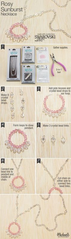 This Rosy Sunburst Necklace is an elegant piece of jewelry that is easy to DIY following these steps