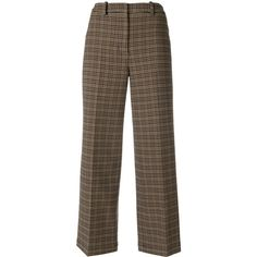 Ports 1961 cropped check trousers (€1.265) ❤ liked on Polyvore featuring pants, capris, brown, checked pants, crop length pants, brown crop pants, colorful wide leg pants and cropped pants
