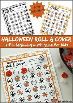Preschool Roll & Cover Halloween Math Game - Where Imagination Grows Preschool Math Games, Toddler Learning Activities, Infant Activities, Fun Math, Preschool Activities, Monster Activities, Montessori Preschool, Fun Halloween Games, Halloween Activities For Kids