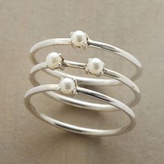 Trio Silver Tiny Thin Pearls Stackable Set Of 3 Rings