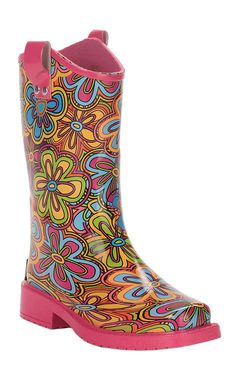 M&F Girls Pink with Multi Colored Floral Design Square Toe Rain Boots | Cavender's