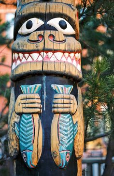 Artist is not noted but this pinner's collection of totem poles is awesome