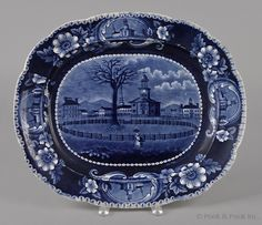 Historical blue Staffordshire platter, 19th c., depicting Winter View Pittsfield, Massachusetts.