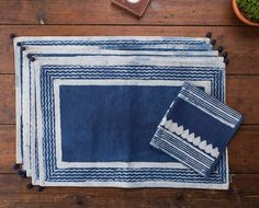 Cotton Placemats Indigo Lines