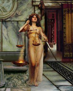 Diké (ou Dice; em grego Δίκη), é a filha de Zeus com Têmis, é a deusa grega dos julgamentos e da justiça (em roman, é a Iustitia), vingadora das violações da lei. Era uma das Horas. Com a mão direita sustentava uma espada (simbolizando a força, elemento tido por inseparável do direito) e na mão esquerda sustentava uma balança de pratos (representando a igualdade buscada pelo direito), sem que o fiel esteja no meio, equilibrado. O fiel só irá para o meio após a realização da justiça.