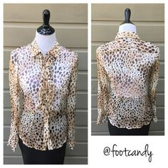"Bebe Cheetah Print Ruffle Blouse Brand: bebe Size: S Color: Cheetah Print (Sheer) Material: Unknown  Bust: 34"" Underarm to bottom hem: 14"" Sleeve (uncuffed): 24.5"" Back Length (shoulder to hem): 24"" Condition/Comments: Pre-owned item in excellent condition.   CLOSET RULES: No PayPal, holds or trades. Reasonable offers through offer button.  BUYER PROTECTION: After purchase, all items are subject to additional photos and videotapes with date stamping and buyer closet name. bebe Tops Blouses"