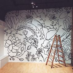 diy decor home Beautiful handdrawn floral black and white wall mural Wall Murals Bedroom, Mural Wall Art, Painted Wall Murals, Bathroom Mural, Hand Painted Walls, Sharpie Wall, Sharpie Markers, Sharpie Doodles, Flower Mural