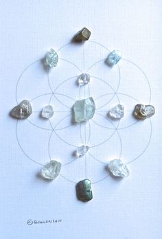 INNER PEACE & GUDIANCE framed crystal grid aquamarine labradorite
