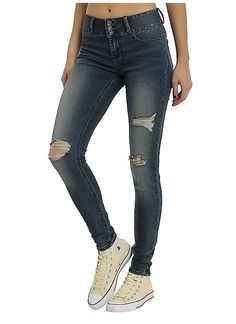 Hot Topic : Blackheart Indigo Deconstructed Super Skinny Jeans