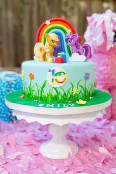 My Little Pony Cake from a Glam Floral My Little Pony Birthday Party on Kara's Party Ideas | KarasPartyIdeas.com (20)