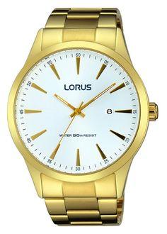 Lorus Herenhorloge RH972FX9 Het horloge heeft een stalen goudkleurige kast met witte wijzerplaat.  Tevens analoge tijdaanduiding en datumweergave. Het horloge is 50 meter waterdicht en heeft een goudkleurige stalen horlogeband met vouwsluiting. Klassiek, tijdloos model.
