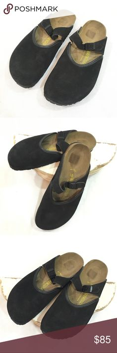 Birkenstock Mary Jane Clog Black Suede SZ 40 Black Suede Birkenstocks!  Excellent condition with very little wear.  Adjustable front strap with black buckle.  Size 40.   See photos for measuring tape photo/measurements.  Smoke free home. (F) Birkenstock Shoes Mules & Clogs