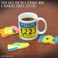 Race Bib Running Mug and running shape cookie cutters! #running