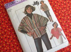 1970s Poncho and Top  Vintage Pattern Simplicity by ErikawithaK, $9.00