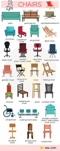 Different Types of Chairs in English - ESLBuzz Learning English : English Vocabulary: Different Types of Chairs – ESL Buzz Grammar And Vocabulary, English Vocabulary Words, Learn English Words, English Study, English Class, English Lessons, English Grammar, English English, Vocabulary List