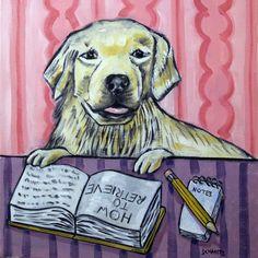 Golden Retriever art tile coaster gift reading dog JSCHMETZ