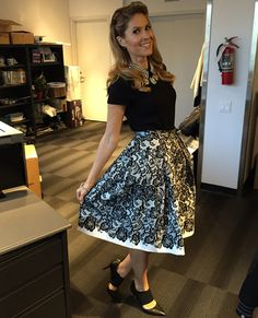 Monday, November 24th | Dina's outfit included: WHITE HOUSE BLACK MARKET Pearl Collar Short Sleeve Top $88.00 Lace Print Full Skirt $125.00 BEBE Diamante Bracelet $12.00 HUDSON'S BAY Vince Camuto Black Pumps with Ankle Strap (Last Season) $160.00