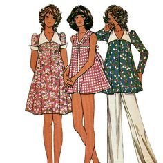 McCalls 3510 1970s Misses  Baby Doll Style Maternity Dress, Top, Panties, Pants, Swimsuit vintage sewing pattern by mbchills,