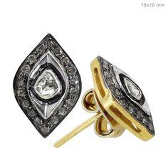 Rose Cut Diamond Pave 14k Gold Evil Eye Stud Earrings 925 Silver Vintage Jewelry #Handmade #Stud