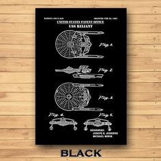 USS Reliant Patent Print Star Trek Poster Reliant Starship | Etsy Star Trek Poster, Technical Artist, Jeep Gifts, Patent Drawing, Patent Prints, Unique Image, Spaceship, Line Art, Colorful Backgrounds