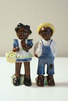 Vintage Black Americana Salt and Pepper Shakers - Boy and Girl | eBay