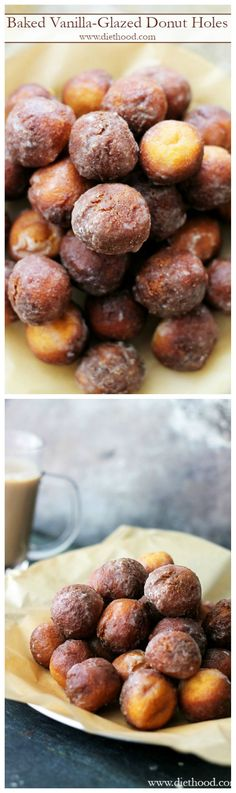 Baked, delicious donut holes covered with a sweet vanilla glaze.