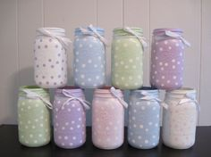Set of 10 Mason Jar Centerpieces,Polka Dot Mason Jars,Mason Jar Vase,Baby Shower Centerpieces,Baby Shower Decorations - New Deko Sites Pot Mason Diy, Mason Jar Vases, Mason Jar Centerpieces, Mason Jar Gifts, Bottles And Jars, Shower Centerpieces, Kilner Jars, Apothecary Jars, Perfume Bottles
