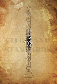 CLARINET music instrument Print Art Original by CitiesAndStandards, $27.00