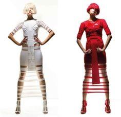 Louise Goldin, future fashion, futuristic clothing, futuristic style, white clothing red clothing, red shoes, white shoes,futuristic fashion by FuturisticNews.com