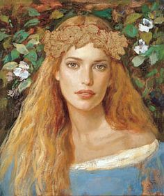 "Goyo Dominguez, ""Reina del Bosque"" (""Queen of the Forest"").  Can you say ""Pre-Raphaelite hair""?"
