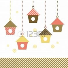 Cute spring colorful Bird houses set   vector