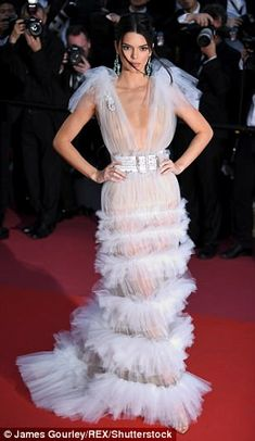 Kendall Jenner at Cannes: Star goes braless in transparent dress | Daily Mail Online