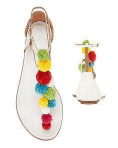 d750ebf9d Aquazzura Pom Pom Thong Sandal: Colorful pom poms line up along the thong  strap of