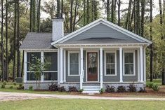 Olech Cottage House Plan Design from Allison Ramsey Architects - Ranch house plans - Small Lake Houses, Small Cottage House Plans, Small Cottage Homes, Small House Floor Plans, Lake House Plans, Small Cottages, Bungalow House Plans, Craftsman House Plans, New House Plans