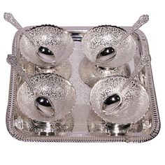 Silver Plated Handcrafted Four Bowl Spoon set with serving tray packed on blood red velvet jewel box