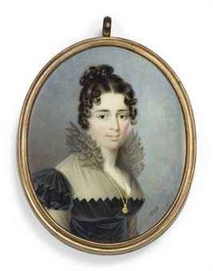 NICOLAS-FRANÇOIS DUN (FRENCH, 1764-1832) A young lady, in black dress with fichu and black gauze upstand collar, wearing a long gold chain and pendant signed 'Dun' (lower right) on ivory oval, 2½ in. (63 mm.) high, silver frame