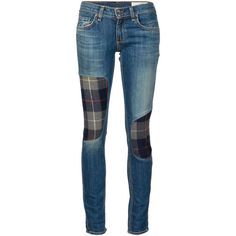 Rag & Bone /Jean The Dre Patchwork Jeans found on Polyvore featuring jeans, pants, blue, blue jeans and patchwork jeans