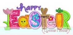 Embroidery Designs - Happy Easter Collage Word Applique 4x4 5x7 6x10 SVG - Welcome to Lynnie Pinnie.com! Instant download and free applique machine embroidery designs in PES, HUS, JEF, DST, EXP, VIP, XXX AND ART formats.