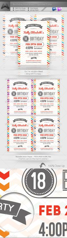 #Birthday_Invitation Print Templates PSD | Buy and Download: http://graphicriver.net/item/birthday-invitation-spirited-color/4796237?WT.ac=category_thumb&WT.z_author=katzeline&ref=ksioks
