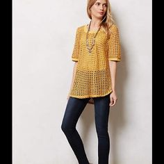"""Anthropologie NWOT Senoia Open Weave Pullover Beautiful, never worn, mustard gold open knit short sleeve sweater top. Cotton polyester, cotton trim. Tag crossed out. Pair Angel of the North's open-weave sweater-tee with a nude tank, or plan for a pop of color to come through. By Angel of the North, 25.25""""L. Anthropologie Tops"""