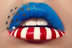 """Nothing says """"freedom"""" like the American flag flying high in the air.but what about American flag lip art? Check out some of the coolest American flag hair and makeup styles around! Makeup Art, Lip Makeup, Makeup Ideas, Fairy Makeup, 4th Of July Makeup, Orange Lips, Lipstick Art, Nice Lips, Lipgloss"""