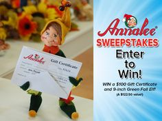 """http://woobox.com/o229ks/frshcg ~ Our biggest give away- Win a $100 gift certificate to use online at the Annalee Gift Shop! Plus a cute 9"""" Green Fall Elf!"""