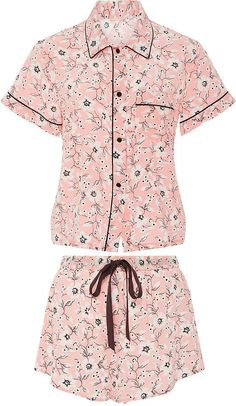 Morgan Lane Silk Printed Short Sleeved Pajama Set ($375)