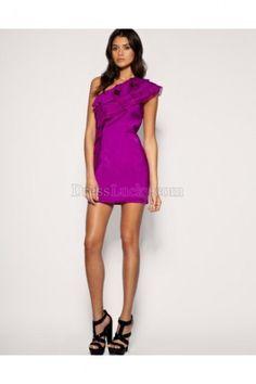 Sheath/Column One Shoulder Natural Short Sleeve Short/Mini Satin Homecoming Dresses HD2599