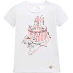 Baby girls short-sleeved white t-shirt for girls by Le Chic, made from soft cotton jersey with a round neckline and poppers fastening on one shoulder. It has a shoes and box print, embellished with silver diamanté, bows and an organza flower appliqué on the front. The designer's logo with a cute bow is stitched near the hem.
