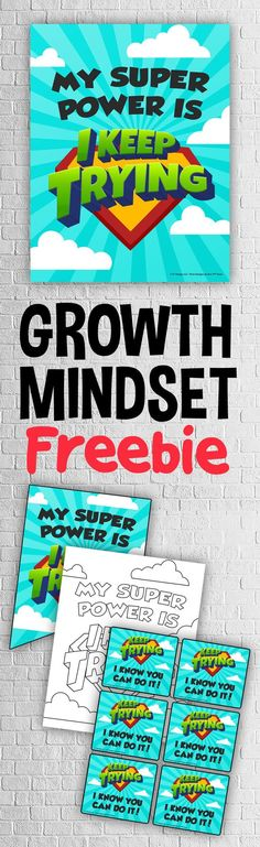 Grab this FREE classroom growth mindset poster, banner, coloring page and teacher notes to keep your Superhero Classroom, School Classroom, Classroom Themes, Classroom Meeting, Superhero School, Superhero Kids, Classroom Environment, Growth Mindset Activities, Growth Mindset Posters