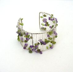 Amethyst and Peridot Silver Cuff  Crystal Chip Bangle  by Pookledo, £10.00