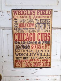 Chicago Cubs Typography Art On Wood Cubs by SouthernPressWorks