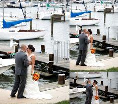 First look harbor Annapolis Wedding Photographer Carla Lutz Photography Port Annapolis Red Navy Orange Maryland Crab Nautical Wedding